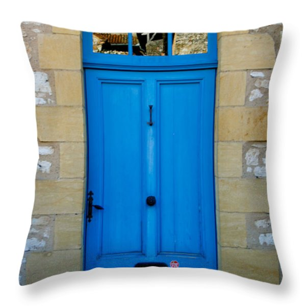 South Of France Rustic Blue Door  Throw Pillow by Georgia Fowler