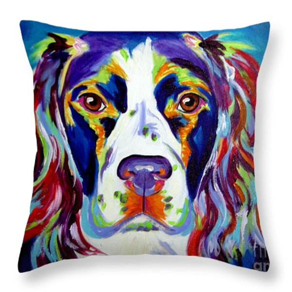 Springer Spaniel - Cassie Throw Pillow by Alicia VanNoy Call