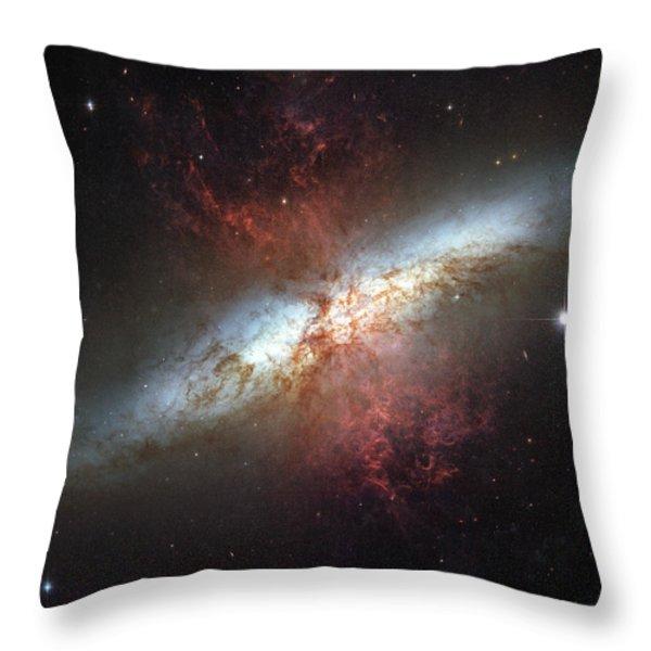 Starburst Galaxy, Messier 82 Throw Pillow by Stocktrek Images