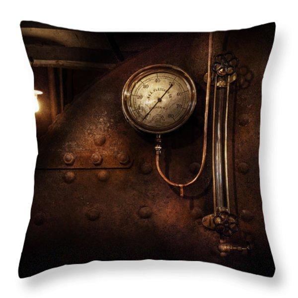 Steampunk - Boiler Gauge Throw Pillow by Mike Savad