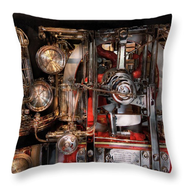 Steampunk - Check The Gauges  Throw Pillow by Mike Savad