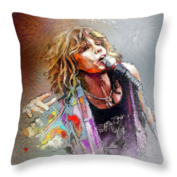 Steven Tyler 02  Aerosmith Throw Pillow by Miki De Goodaboom