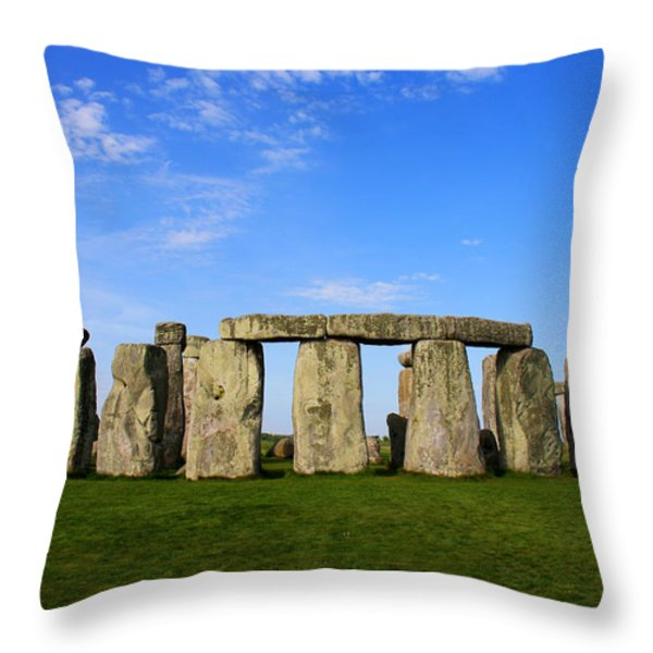 Stonehenge On A Clear Blue Day Throw Pillow by Kamil Swiatek