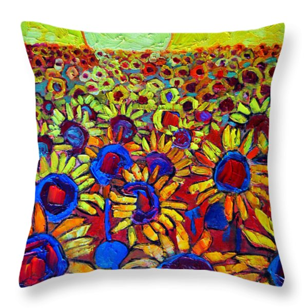 Sunflowers Field At Sunrise Throw Pillow by Ana Maria Edulescu