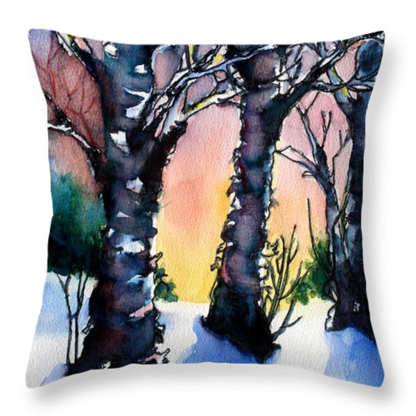 Sunset Birches On The Rise Throw Pillow by Kathy Braud