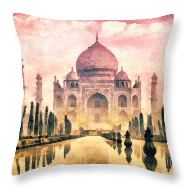 Taj Mahal Throw Pillow by Mo T