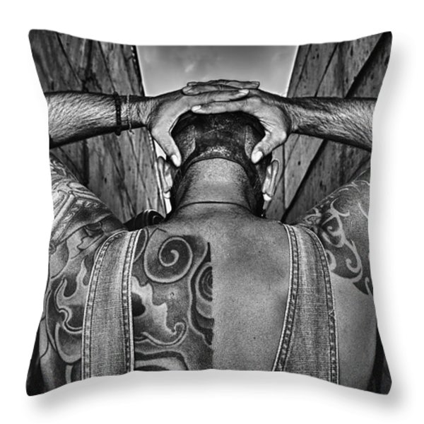 Tattoo Throw Pillow by Stylianos Kleanthous