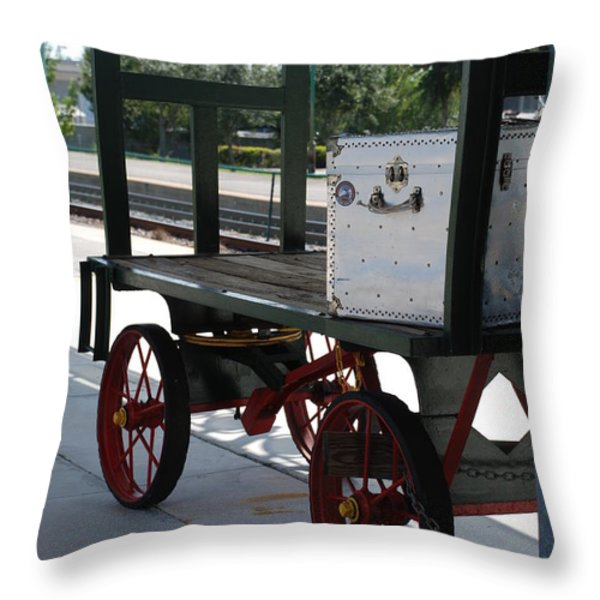 The Baggage Cart And Truck Throw Pillow by Rob Hans