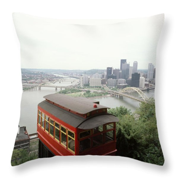 The Cable Car To Mount Washington Throw Pillow by Lynn Johnson