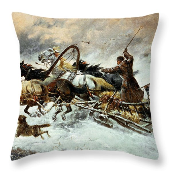 The Chase Throw Pillow by Constantine Stoiloff