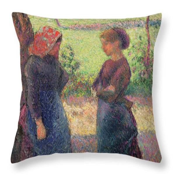 The Chat Throw Pillow by Camille Pissarro