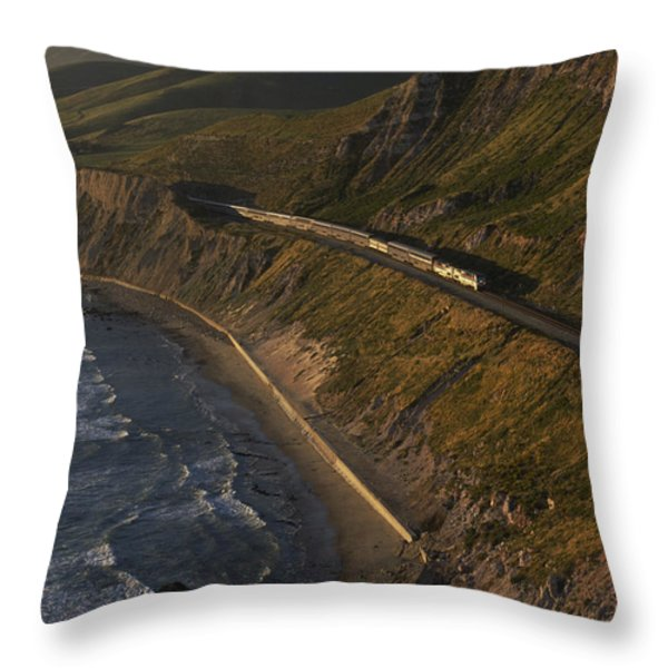 The Coast Starlight Train Snakes Throw Pillow by Phil Schermeister