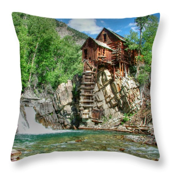 The Crystal Mill In Crystal Colorado Throw Pillow by Ken Smith