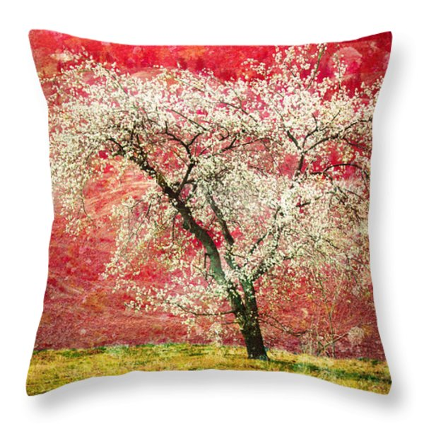 The First Blossoms Throw Pillow by Tara Turner