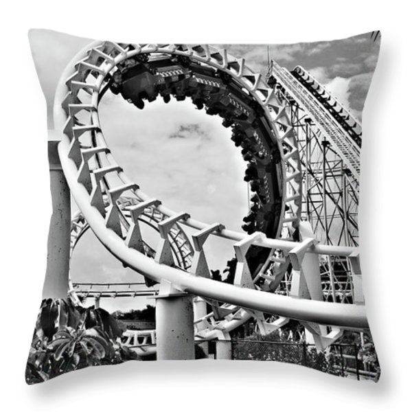 The Loop Black And White Throw Pillow by Douglas Barnard