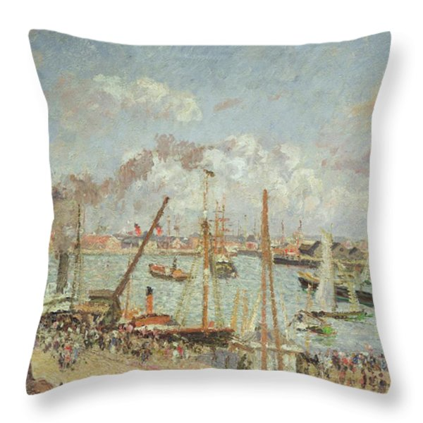 The Port Of Le Havre In The Afternoon Sun Throw Pillow by Camille Pissarro