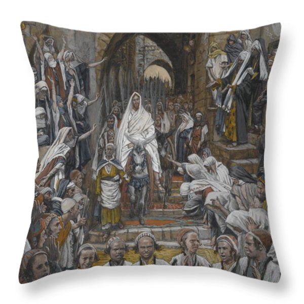 The Procession In The Streets Of Jerusalem Throw Pillow by Tissot