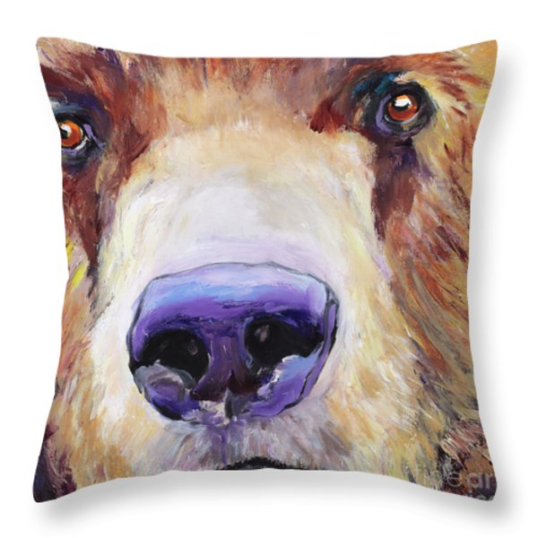 The Sniffer Throw Pillow by Pat Saunders-White