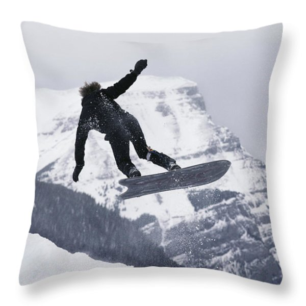 The Snowboard Championships Were Held Throw Pillow by George F. Mobley