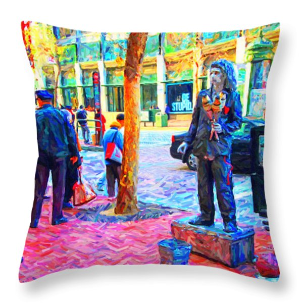 The Street Performer . Photo Artwork Throw Pillow by Wingsdomain Art and Photography