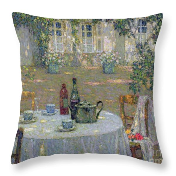 The Table In The Sun In The Garden Throw Pillow by Henri Le Sidaner