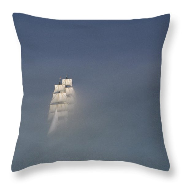 The Tall Ship Uscg Eagle Sails In A Sea Throw Pillow by James P. Blair