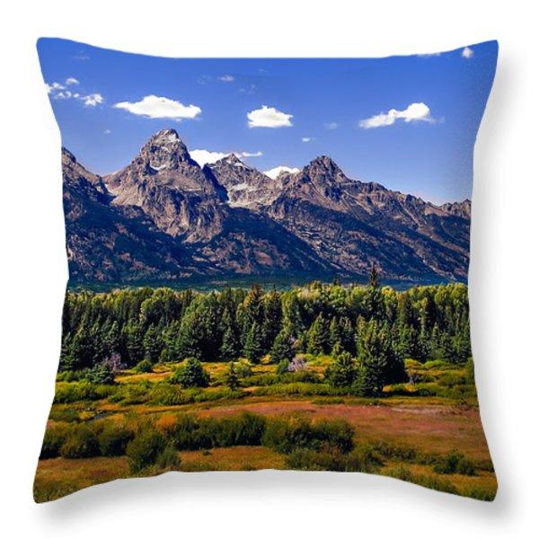 The Tetons II Throw Pillow by Robert Bales