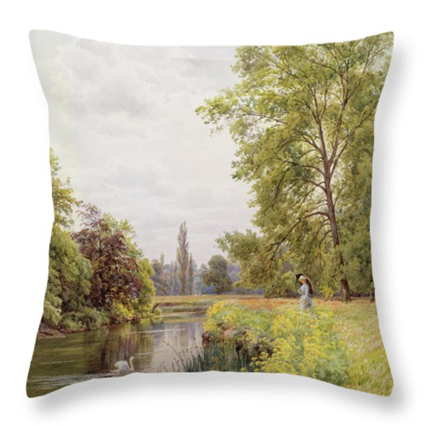 The Thames At Purley Throw Pillow by William Bradley