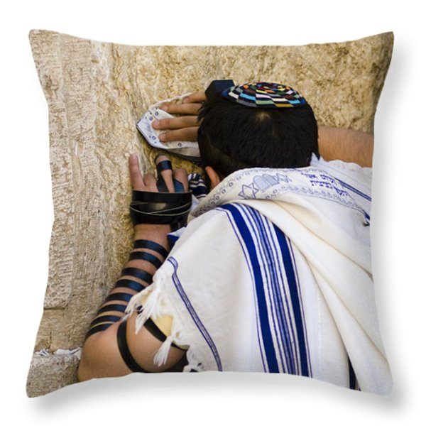 The Western Wall, Jewish Man Wearing Throw Pillow by Richard Nowitz