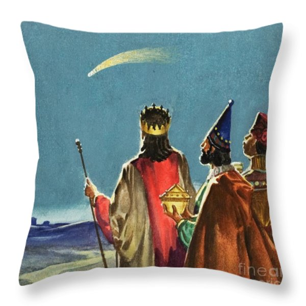 Three Wise Men Throw Pillow by English School