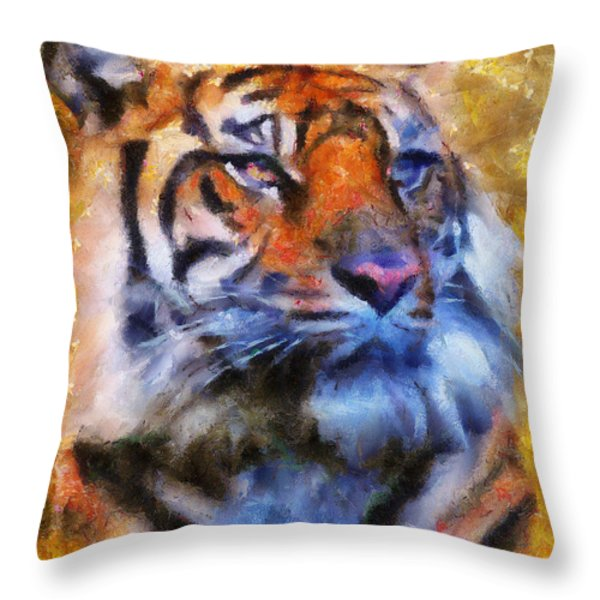 Tiger Portrait Throw Pillow by Jai Johnson
