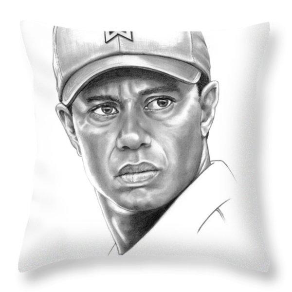 Tiger Woods Throw Pillow by Murphy Elliott
