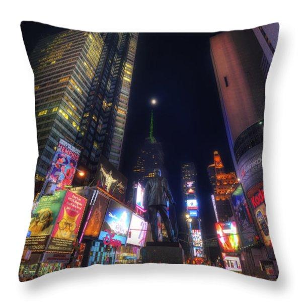 Times Square Moonlight Throw Pillow by Yhun Suarez