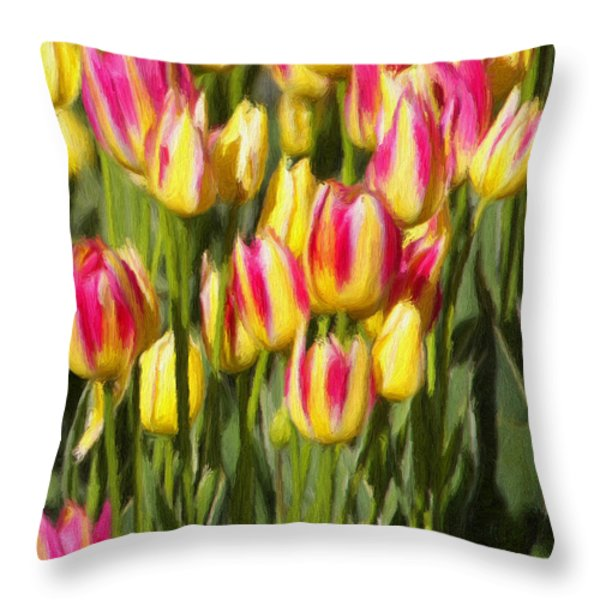 Too Many Tulips Throw Pillow by Jeff Kolker