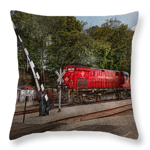 Train - Diesel - Look Out For The Locomotive Throw Pillow by Mike Savad