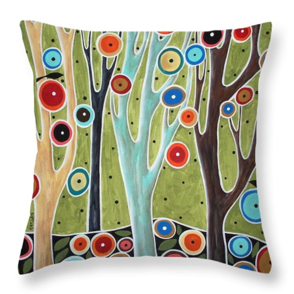 Tree Blooms And Birds Throw Pillow by Karla Gerard