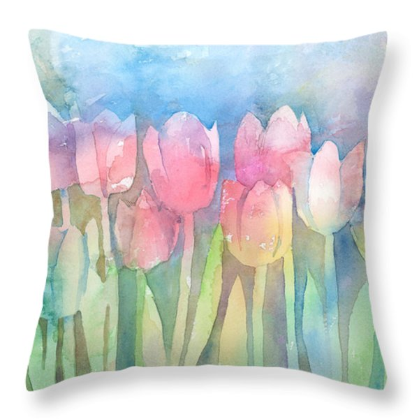 Tulips In A Row Throw Pillow by Arline Wagner