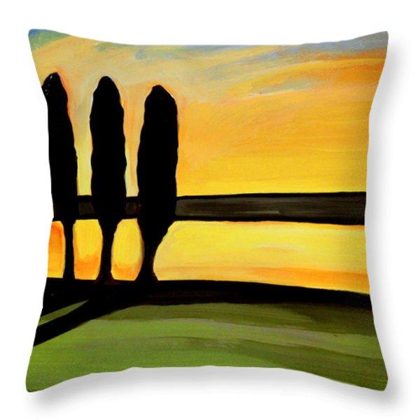 Tuscany Cypress Throw Pillow by Elizabeth Robinette Tyndall