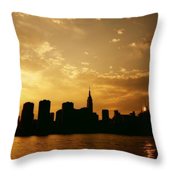 Two Suns - The New York City Skyline In Silhouette At Sunset Throw Pillow by Vivienne Gucwa