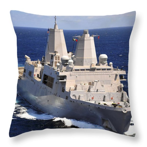 Uss Green Bay Transits The Indian Ocean Throw Pillow by Stocktrek Images