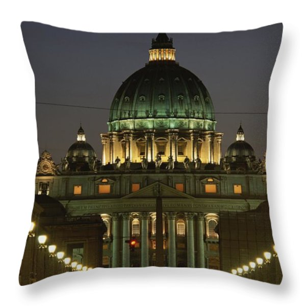 Vatican, Rome, Italy.  Night View Throw Pillow by Richard Nowitz