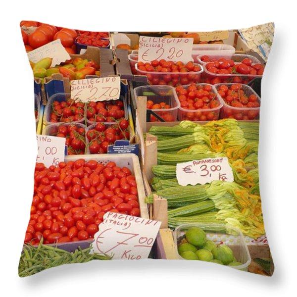 Vegetables At Italian Market Throw Pillow by Carol Groenen