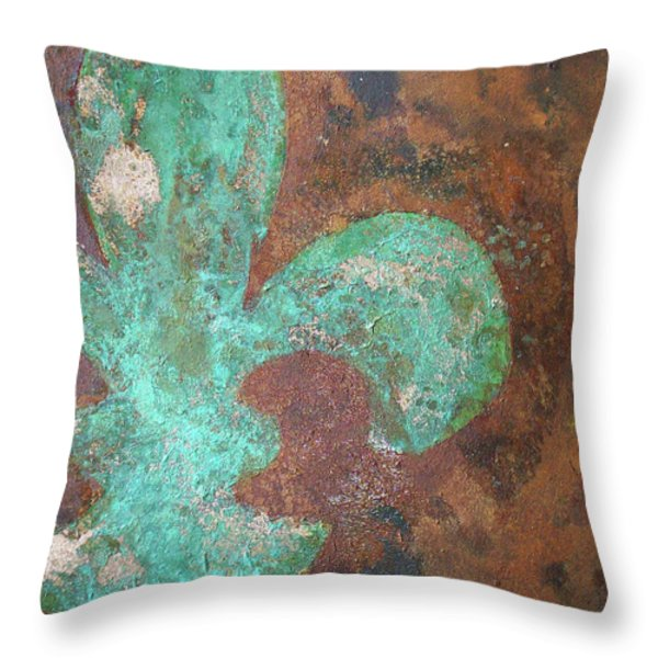 Verdigris Copper Iron Throw Pillow by Maria Boudreaux