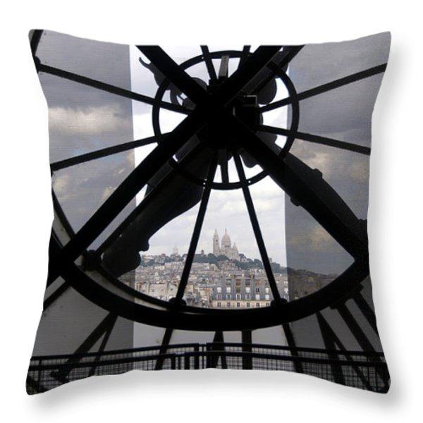 View Of Montmartre Through The Clock At Museum Orsay.paris Throw Pillow by Bernard Jaubert