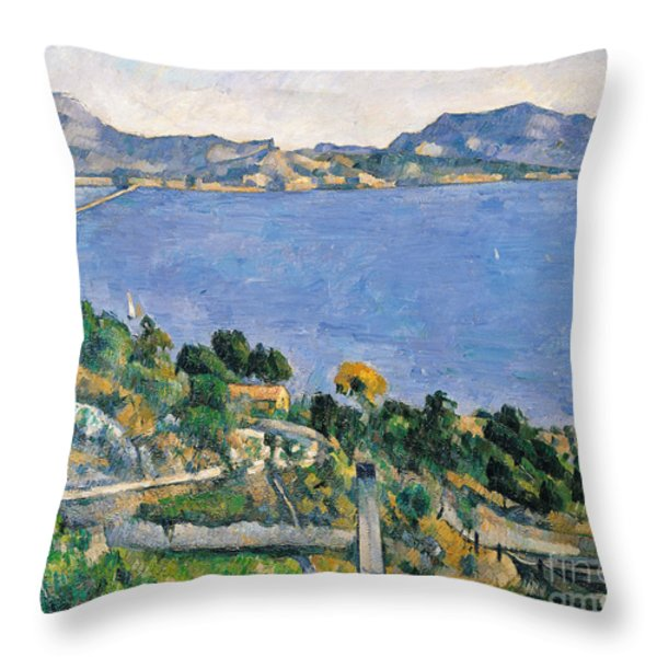 View Of The Bay Of Marseilles Throw Pillow by Paul Cezanne