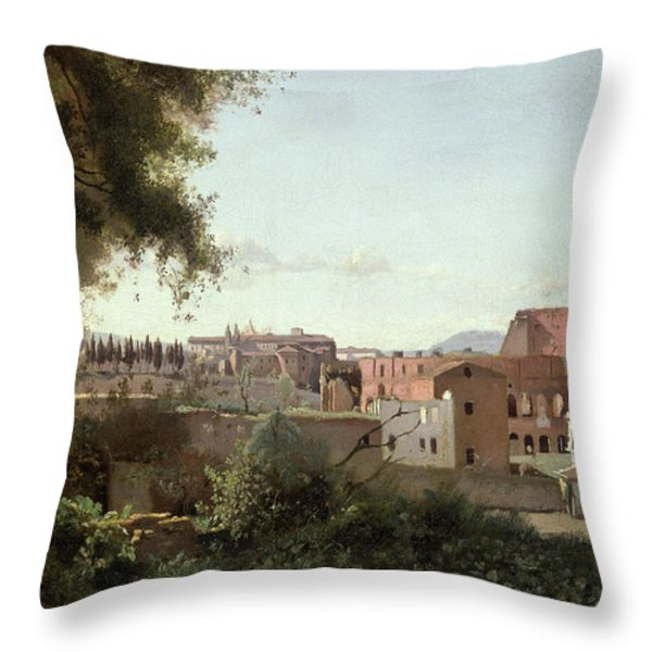 View Of The Colosseum From The Farnese Gardens Throw Pillow by Jean Baptiste Camille Corot