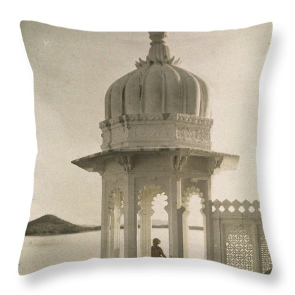 View Of The Palace Of Maharajas Pond Throw Pillow by Gervais Courtellemont