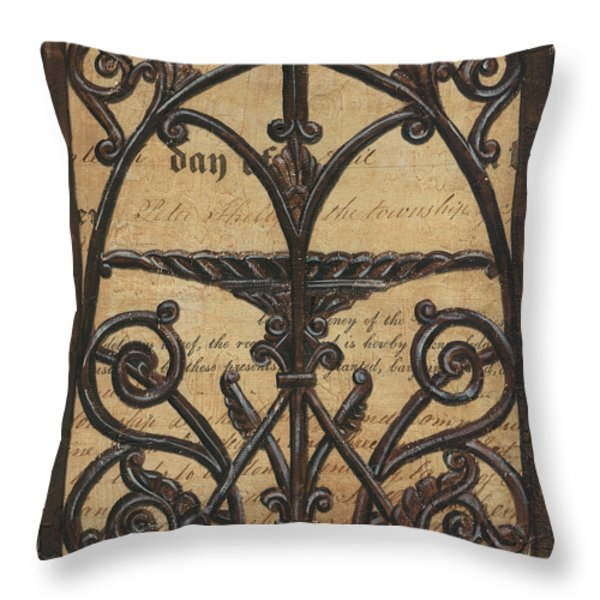 Vintage Iron Scroll Gate 1 Throw Pillow by Debbie DeWitt