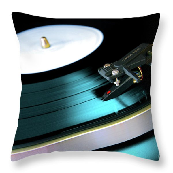 Vinyl Record Throw Pillow by Carlos Caetano