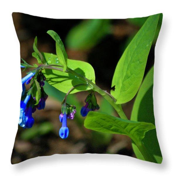 Virginia Bluebells Throw Pillow by Teresa Mucha